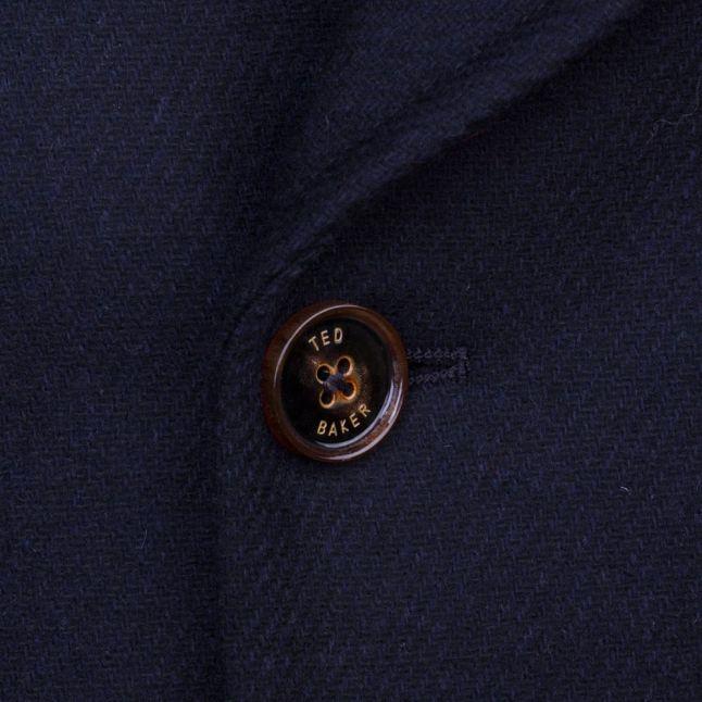 Mens Navy Biza Twill Wool Peacoat