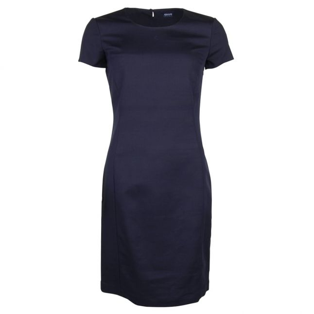 Womens Navy Open Back Fitted Dress
