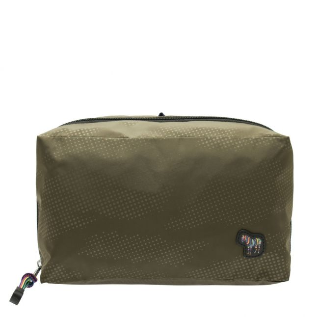 Mens Olive Zebra Camo Wash Bag