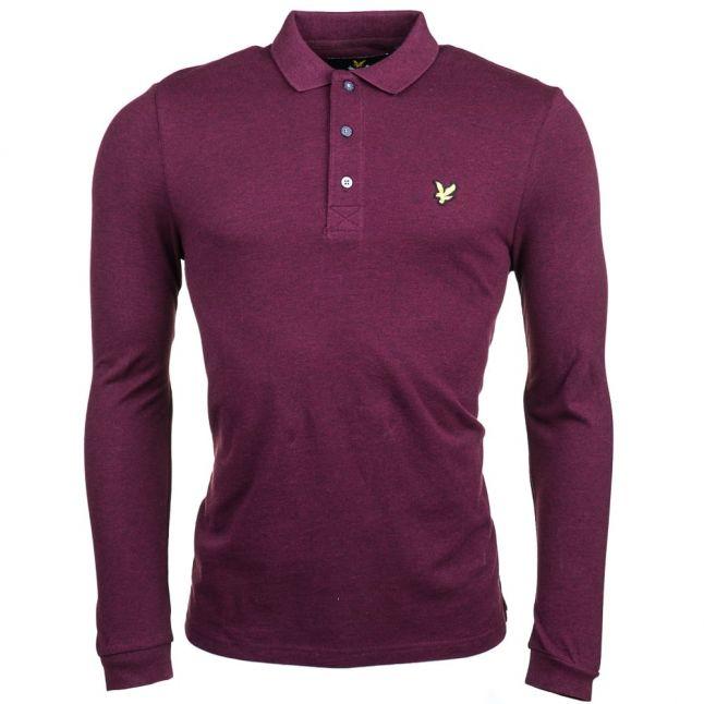 Mens Claret Marl L/s Polo Shirt