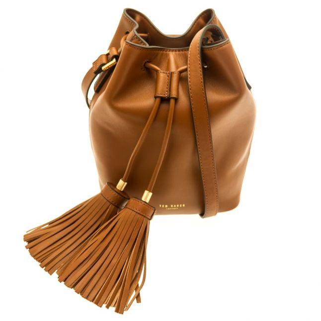 Womens Brown Avida Tassle Bucket Bag