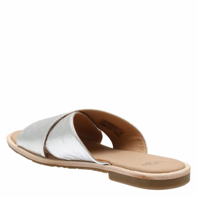 Womens Silver Joni Metallic Leather Slides
