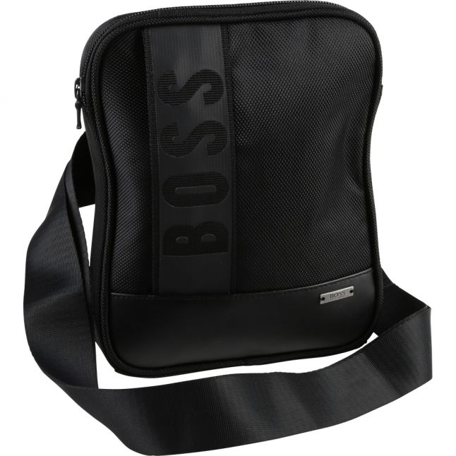 Boys Black Branded Crossbody Bag