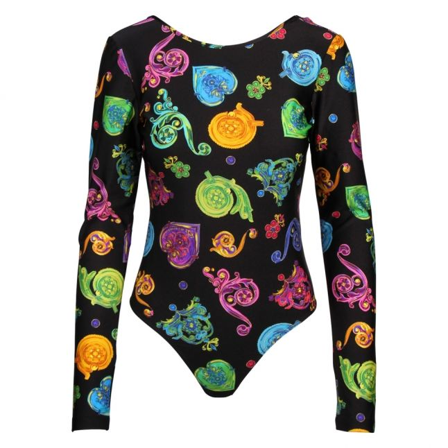 Womens Black Jewel Print L/s Bodysuit
