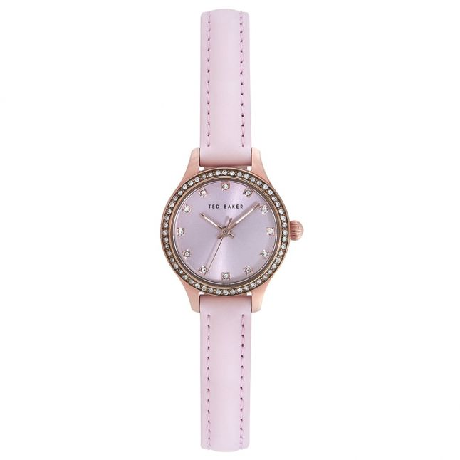 Womens Pink Stoned Bezel Sunray Dial Leather Strap Watch
