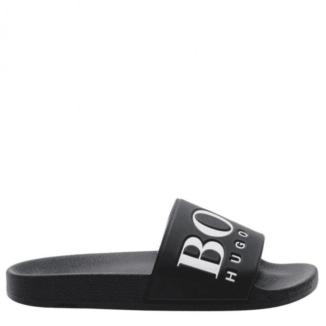 Mens Black Solar Slide Logo Slides
