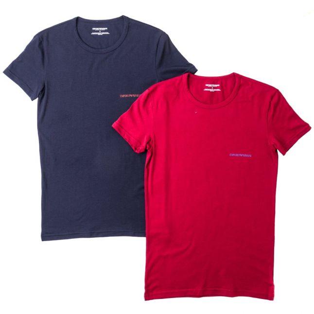 Mens Navy & Burgundy 2 Pack Logo Crew S/s Tee Shirts