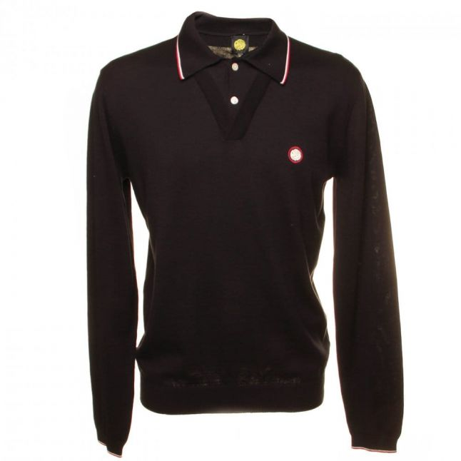 Tipped Knit S/s Polo Shirt in Black