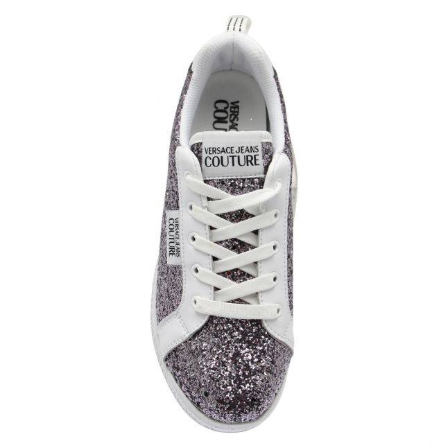 Womens Silver Glitter Low Trainers