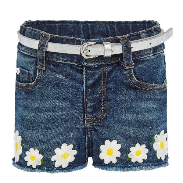 Infant Dark Blue Embroidered Daisy Denim Shorts