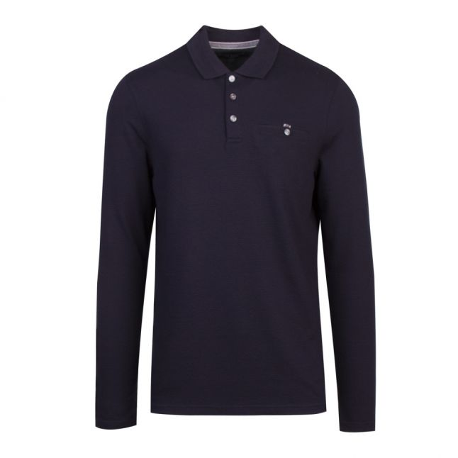 Mens Navy Recline L/s Polo Shirt