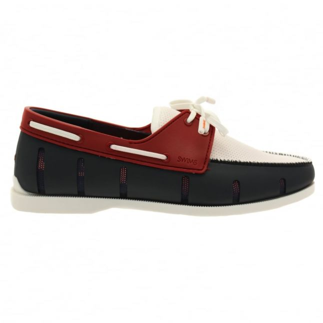 Mens Navy & Red Boat Loafers