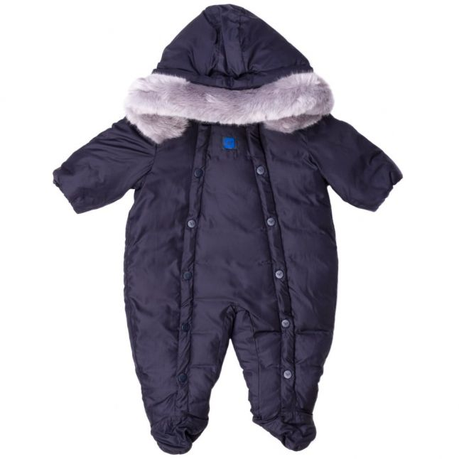 Baby Navy Fur Lined Hooded Snowsuit