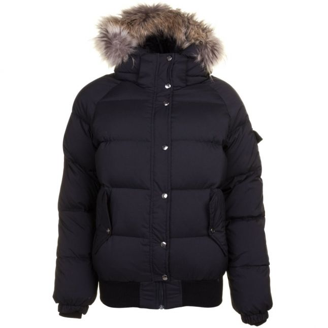 Womens Black Aviator Fur Hooded Jacket