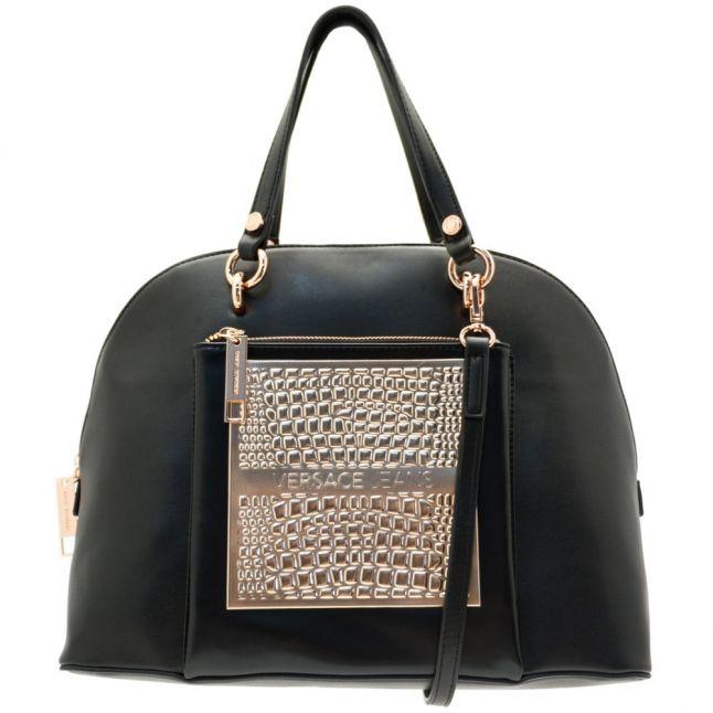 Womens Black Metallic Detail Dome Bag