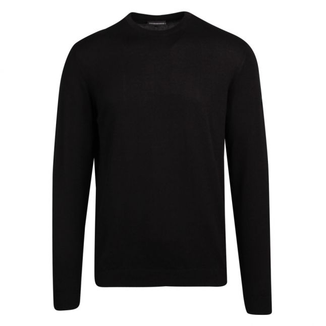 Mens Black Branded Arm Patch Crew Knitted Jumper