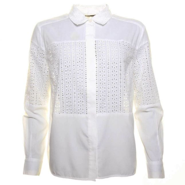 Womens White Abstract Shirt