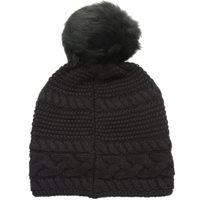 Womens Black Cable Knit Oversized Beanie Hat