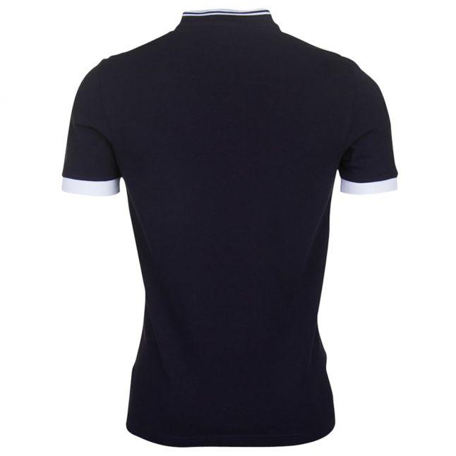 Mens Navy Bomber Collar Pique S/s Polo Shirt