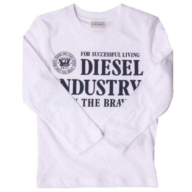 Boys White Branded L/s Tee Shirt