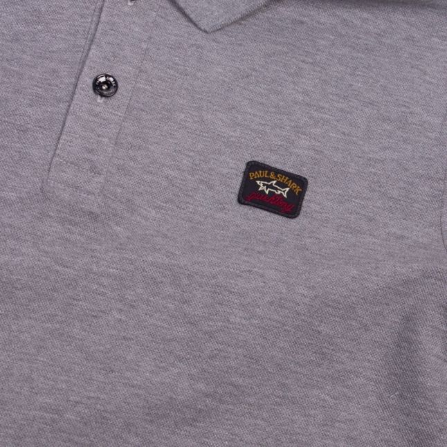 Mens Grey Melange Classic Logo Custom Fit L/s Polo Shirt