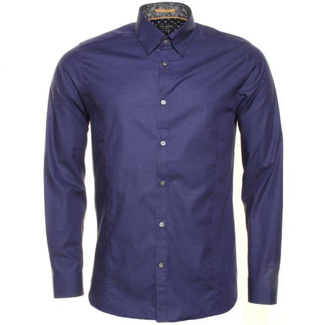 Mens Blue Bigidea Micro Dobby L/s Shirt
