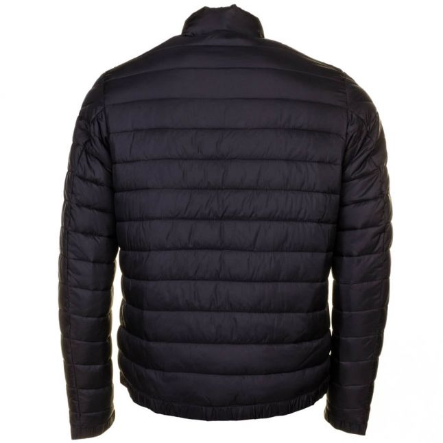 Mens Black Chain Baffle Quilted Jacket