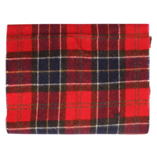 Mens Red Tartan Lambswool Scarf