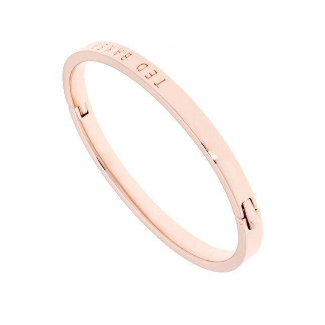 Womens Rose Gold Clemina Hinge Metallic Bangle Bracelet
