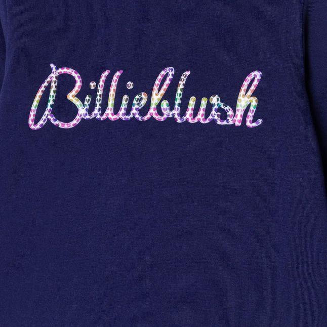 Girls Navy Script Logo L/s T Shirt