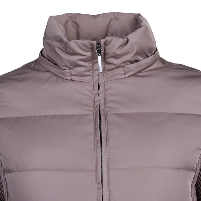 Womens Taupe Fur Hooded Down Jacket