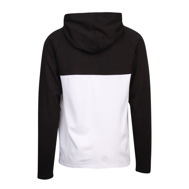 Mens Black Jacquard Hooded L/s T Shirt