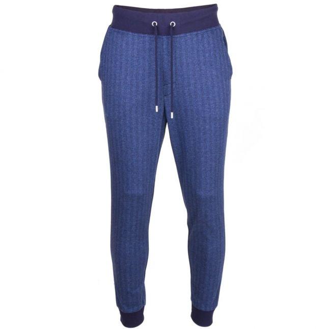 Mens Dark Blue Loungewear Herringbone Cuffed Pants
