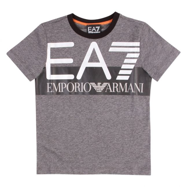 Boys Grey Large Logo S/s T Shirt