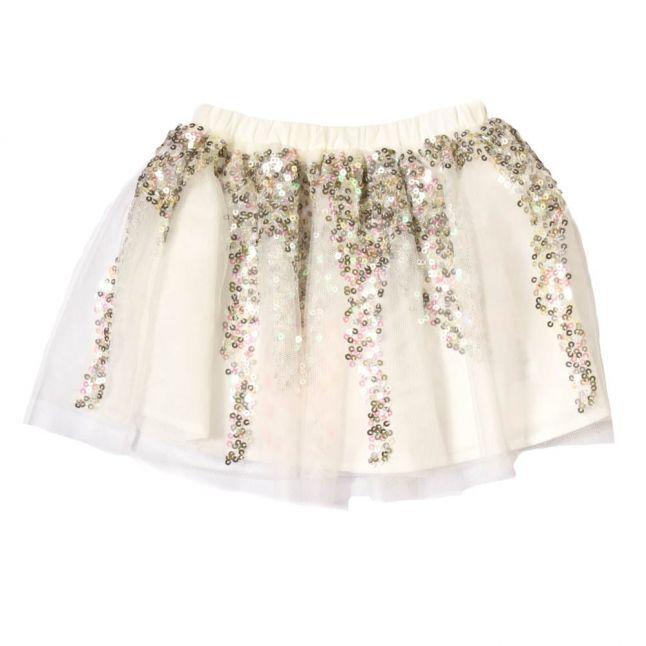 Baby White Sequin Detail Skirt