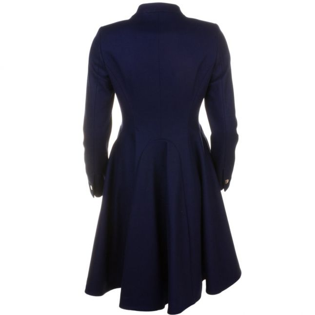 Womens Navy Indego Double Breasted Flare Coat