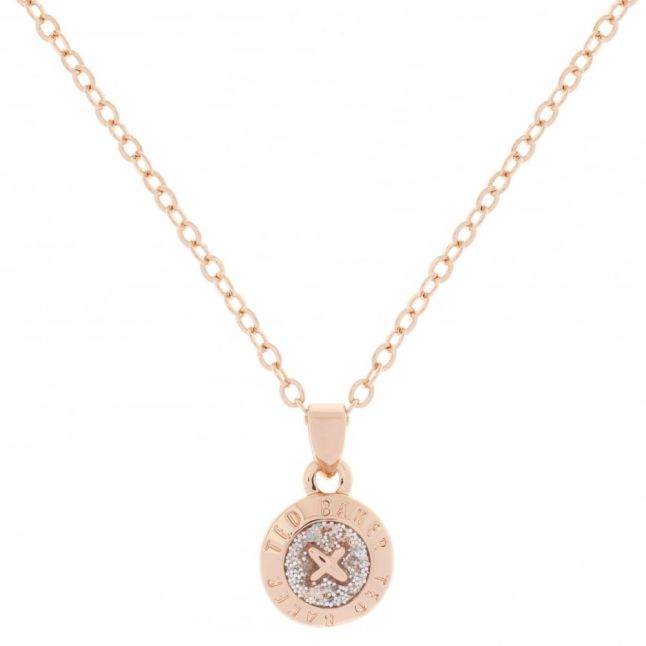 Womens Rose Gold/Silver Elvina Enamel Mini Button Pendant Necklace