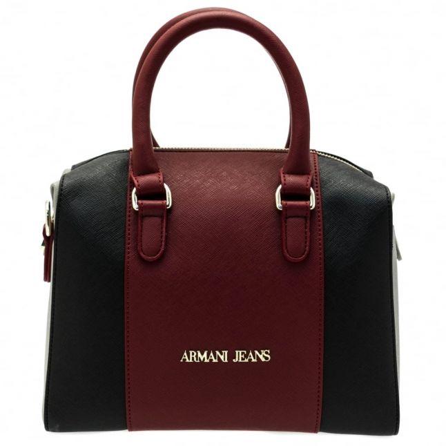Womens Burgundy & Navy Colour Block Bowler Bag
