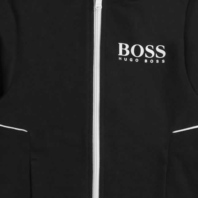 Boys Black Branded Hooded Sweat Top