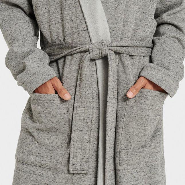 Mens Grey Heather Robinson Shawl Collar Robe