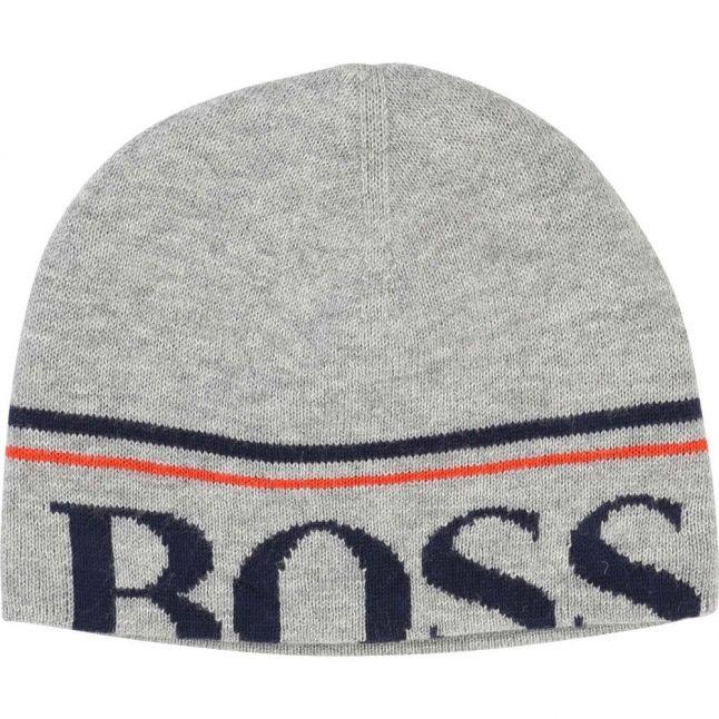 Boys Grey Branded Beanie Hat