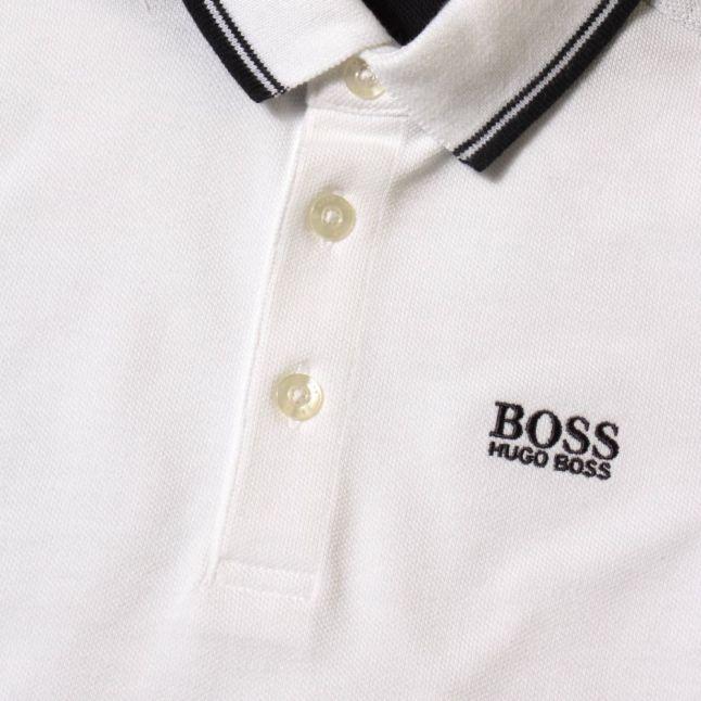 Boys White Branded S/s Polo Shirt