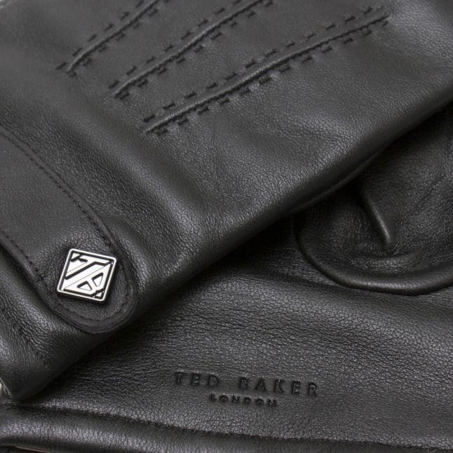 Mens Black Tipps Leather Gloves Gift Set