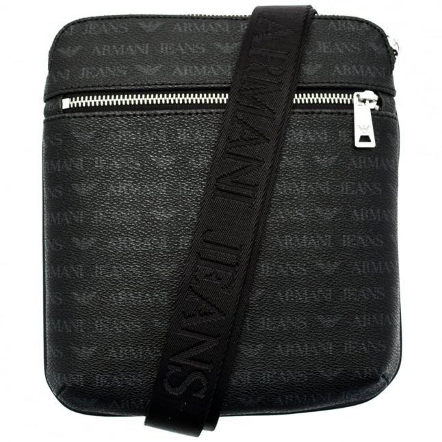 Mens Black Multi Logo Messenger Bag