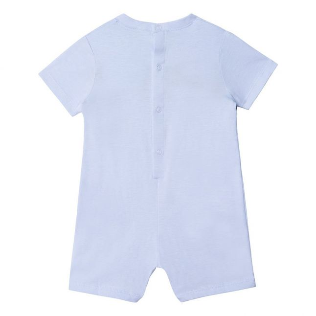 Baby Pale Blue Logo Tape S/s Romper