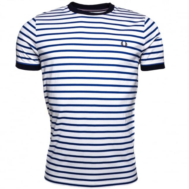Mens Carbon Blue Breton Stripe Ring S/s Tee Shirt