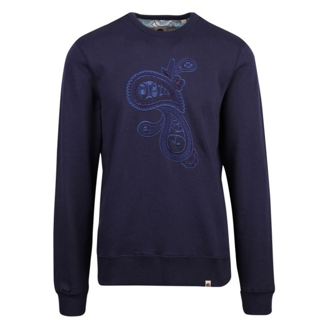 Mens Navy Embroidered Sweat Top