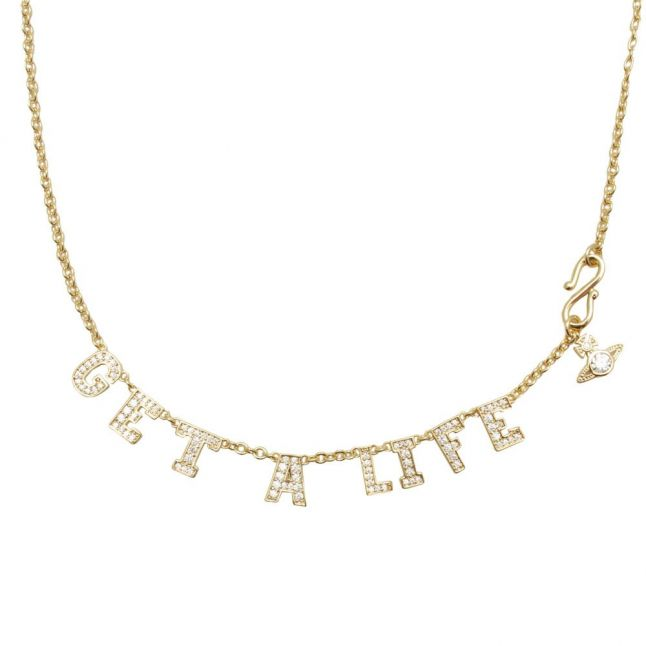 Womens Gold/White Get A Life Pendant Necklace