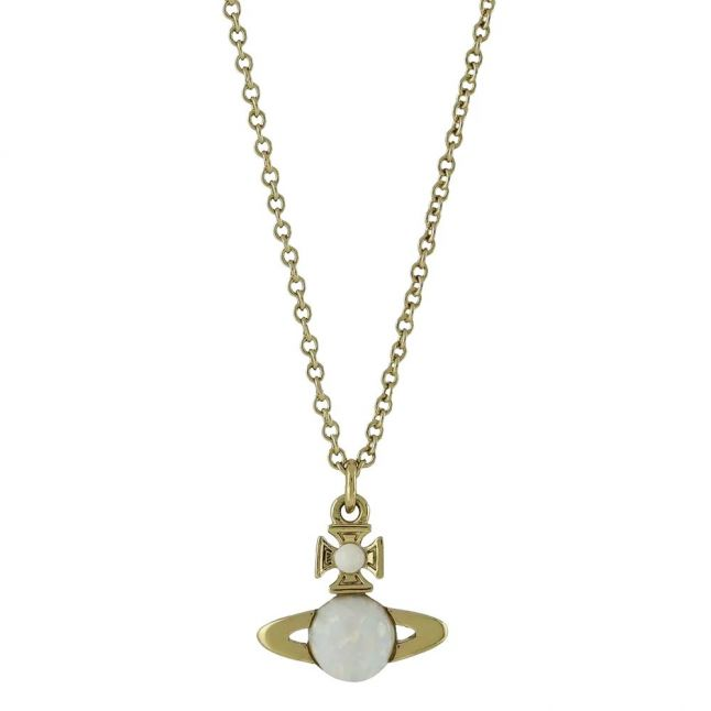 Womens Gold/White Isabelitta Bas Relief Pendant Necklace