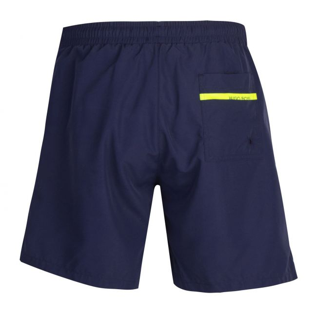 Mens Navy/Lime Dolphin Side Logo Swim Shorts